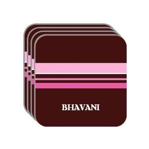 Personal Name Gift   BHAVANI Set of 4 Mini Mousepad Coasters (pink