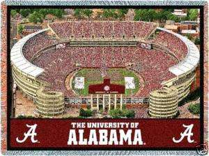 70x54 ALABAMA Football Stadium JACQUARD Throw Blanket