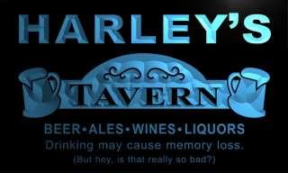 Harleys Tavern Man Cave Home Light Wine Ale Bar Beer Neon Sign