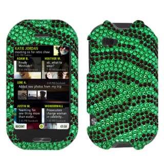 New For Sharp Kin Two Cell Phone Black Green Zebra Full Bling Stone