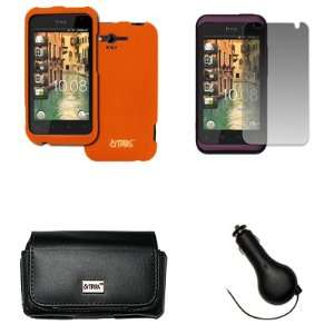 EMPIRE HTC Rhyme Black Leather Case Pouch with Belt Clip