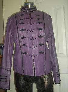 Pamela McCoy Purple Black Lady Leather Coat Size S