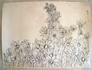 FLOWERS daisy fine line drawing botanical study ORIGINAL ART RAY L