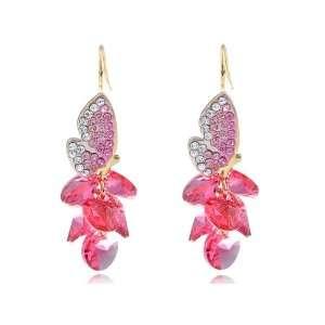 Fiery Fuchsia Golden Tone Vibrant Butterfly Swarovski Crystal Element
