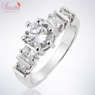 Engagement Fine Clear Topaz 18K White Gold GP Ring Fashion Jewelry 7/O