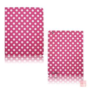 Polka Dot Leather Flip Case Cover for Apple IPad 2 2nd WiFi 3G w/Stand