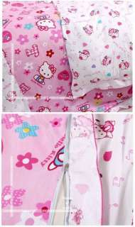 Hello Kitty bed quilt cover sheet set bedspread 4pcs