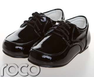 Childrens Baby Boys Black Shoes Lace Up Wedding Page Boy Christening