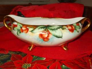 Antique Germany Hand Painted CHERRIES Blue Sky Gilt Handled Footed