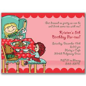 Kids Holiday Tea Party Invitations Birthday Party Girls Christmas
