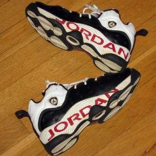 VINTAGE 1998 NIKE AIR JORDAN SHOES BLACK/WHITE/RED LOGOS YOUTH/BOYS 5