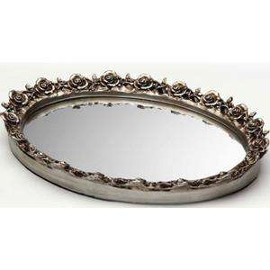 Taymor Antique Silver Oval Resin Mirror Tray   New 063013679021