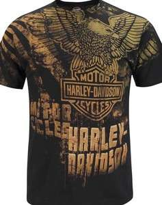 Davidson Mens Upwing Eagle Attitude All Over Print Black Biker T Shirt