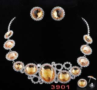 Ringed Round Beads Link Necklace Earrings 1set 6Colors Czech