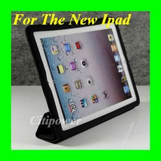 Black The New iPad 3 Smart Cover Slim Magnetic PU Leather Case Wake