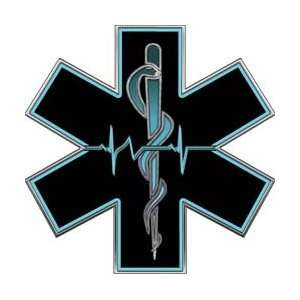 Aqua EMT EMS Star Of Life With Heartbeat   6 h