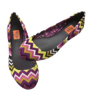 New MISSONI for Target Multicolor Zig Zag Pattern Round Toe Ballet