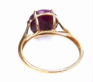 Natural Ruby 18K Yellow Gold Estate Engagement Jewelry Ring 8 1/4
