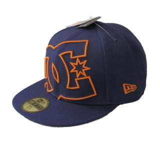 DC Shoes New Era Coverage 2 59fifty Hat Cap Flat Bill Navy Blue Orange
