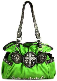 Western Rhinestone Cross Stud Bling Purse Handbag Lime Green