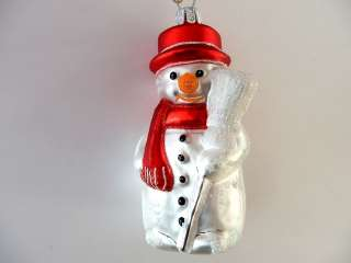 SNOWMAN W/ BROOM EUROPEAN BLOWN GLASS CHRISTMAS ORNAMENT