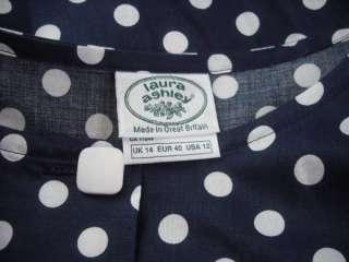 Great Britain Vintage 80s Navy Blue & White Polka Dot Dress 12