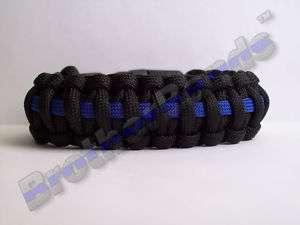 WIDE Thin Blue Line Paracord Bracelet