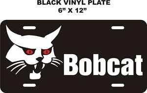 BOBCAT RED EYE    BLACK VINYL LICENSE PLATE