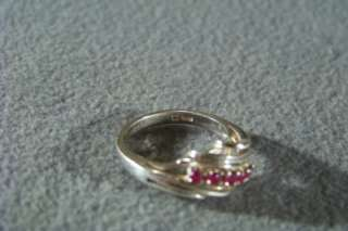 ANTIQUE STERLING SILVER 5 RUBY BOLD FANCY BAND RING 7