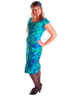 Vintage Silk Wiggle Dress Kay Selig 1950S Green/Blues Mad Men