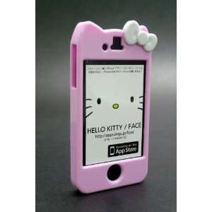 Character Hello Kitty Hard Case Cover iPhone 4 4S Pink with White Bow