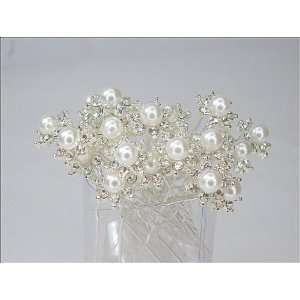 White Faux Pearl with Crystal Bridal Wedding Hair Pins Toys & Games