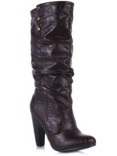 NEW QUPID Women Western Cowboy Mid Calf Cuff High Heel Boot sz Brown