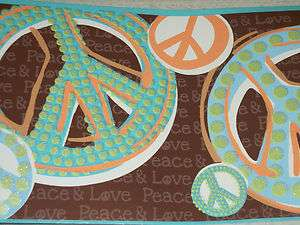 Wallpaper Borders on York Girls Peace Signs Peace Love Wallpaper Border