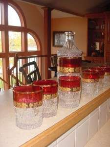 Bourbon Bar Set DECANTER & 6 Glasses heavy CUT GLASS Ruby Red w gold