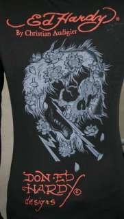 Ed Hardy Womens Burnout Panther Rose shirt Tank ghost