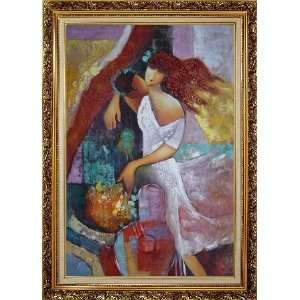 Oil Painting 36 x 24 inches, with Ornate Antique Dark Gold Wood Frame
