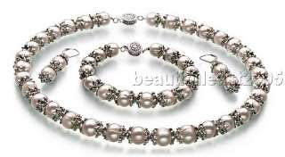 white pearl necklace&bracelet&earrings sets 925s clasp(one)