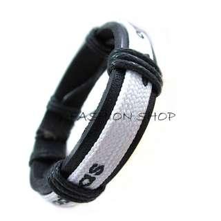 Mens Women Unisex Punk Cool Rope Weaving Genuine Leather Charm