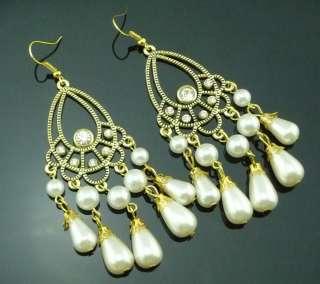 Fashion Gold Tone Pearl Beads Dangle Earrings Cute Charm B13