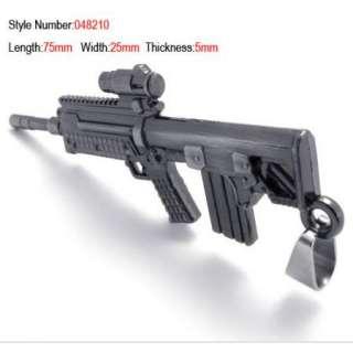 New Cool Men Stanless Steel Submachine Gun Rifle Pendant Necklace