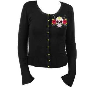 Sugar Skull Day of the Dead Skull Design Knit Black