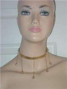 Victorian rhinestone ball chain crystal gold tone Necklace Choker