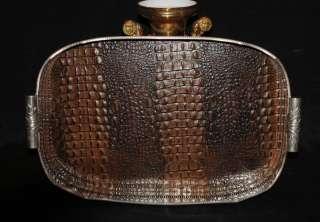 Silver Plate Tray Faux Crocodile Skin Butlers Platter