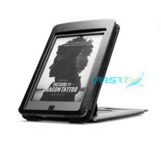 PREMIUM BLACK PU LEATHER FLIP CASE COVER FOR KINDLE TOUCH WITH SLIM