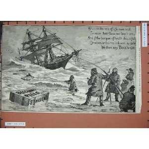 1889 Advertisements Beechams Pills Sailing Ships Men