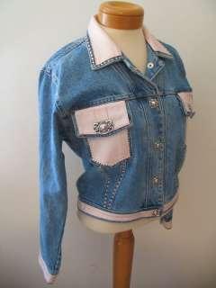 St. Maarten Denim Pink Leather Studded Jeans Jacket Coat M NWT $200