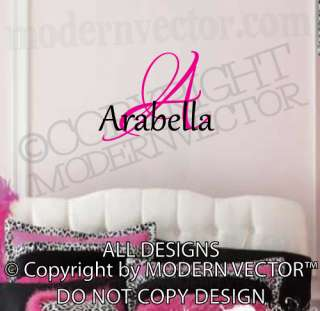 Monogram Personalized Name Vinyl Wall Decal Lettering