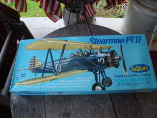 GUILLOWS STEARMAN PT 17 PILOT WWII TRAINER BALSA WOOD FLYING MODEL KIT