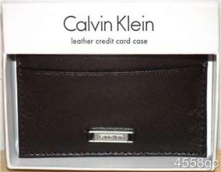 CALVIN KLEIN MENS LEATHER CREDIT CARD WALLET   NEW